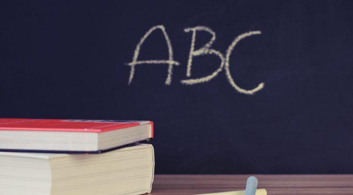 Książki, kreda i napis abc